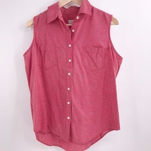 Sleeveless Button-down Shirt Checked Red and White